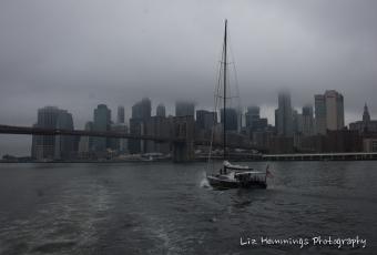 Sailing towards the Brooklyn Bridge